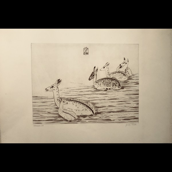 HECHT JOSEPH (1891-1951) - CERFS INDOCHINOIS