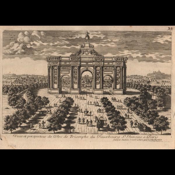 VUE ET PERSPECTIVE DE L'ARC DE TRIOMPHE DU FAUXBOURG ST.ANTOINE A PARIS