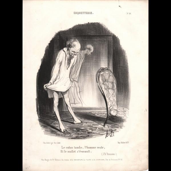 DAUMIER HONORÉ (1808-1879) - LE COTON TOMBE, L'HOMME RESTE, ET LE MOLLET S'ÉVANOUIT