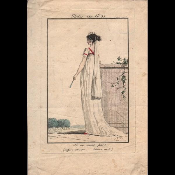 DEBUCOURT LOUIS-PHILIBERT (1755-1832) - IL NE VIENT PAS! COIFFURE ETRUSQUE, CEINTURE EN X