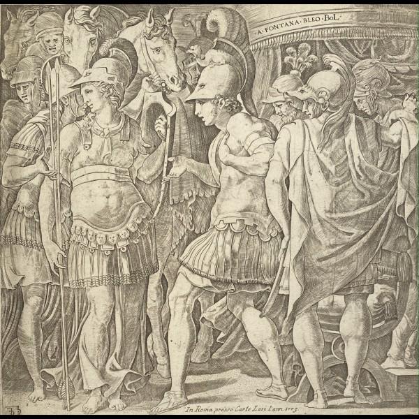 ANONYME XVIè - ALEXANDRE RECEVANT LA REINE DES AMAZONES, THALESTRIS