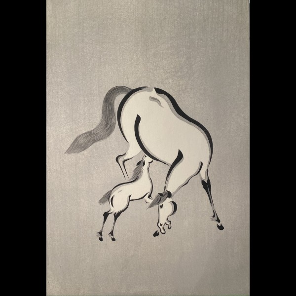 AOYAMA SEIZAN ( ACTIF VERS 1930 ) - POULICHE ET SON POULAIN