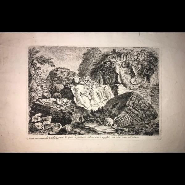 PIRANESI GIOVANNI-BATTISTA  (1720-1778) - ARA ANTICA SOPRA LA QUALE SI FACEVANO ANTICAMENTE I SAGRIFIZI CON ALTRE RUINE ALL INTORNO
