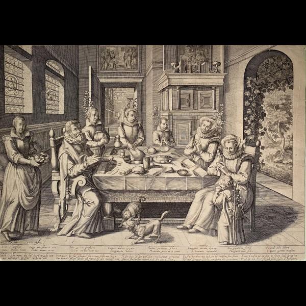 DE BAUDOUS  ROBERT WILLEMSZ ( CA.1575-CA.1644 ) - FAMILLE DEVANT UNE TABLE RICHEMENT DRESSEE