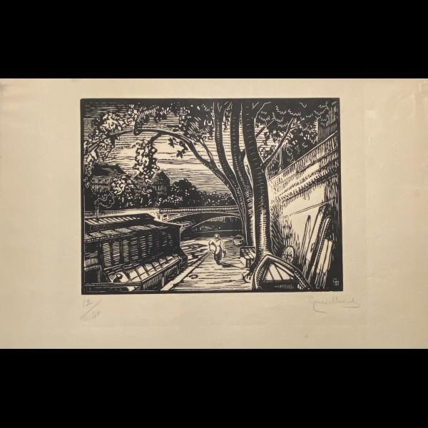 BELOT GABRIEL ( 1882-1962 ) - SUR LA SEINE, PENICHE, PARIS
