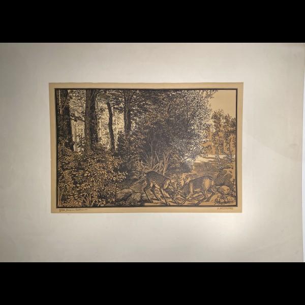 BELTRAND JACQUES ( 1874-1977 ) - LE COMBAT DES CERFS