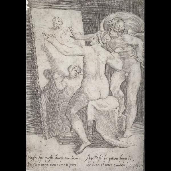 BONASONE GIULIO ( 1531-1574 ) - APOLLON SE TENANT DERRIERE UNE FEMME OU ALLEGORIE DE LA PEINTURE