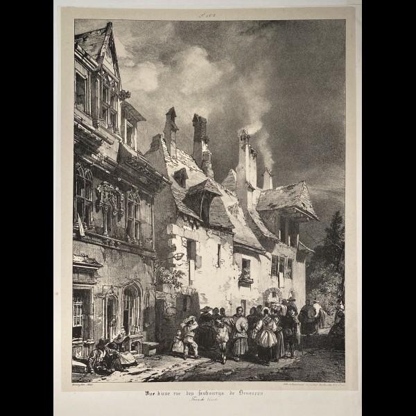 BONINGTON RICHARD PARKES  (1802-1828 ) - VUE D'UNE RUE DES FAUBOURGS DE BESANCON
