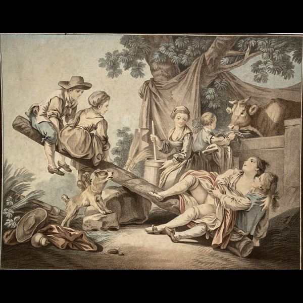 BONNET LOUIS MARIN (1736 - 1793) - PAIRE D'ESTAMPES : THE SUMP ET THE BALANCE