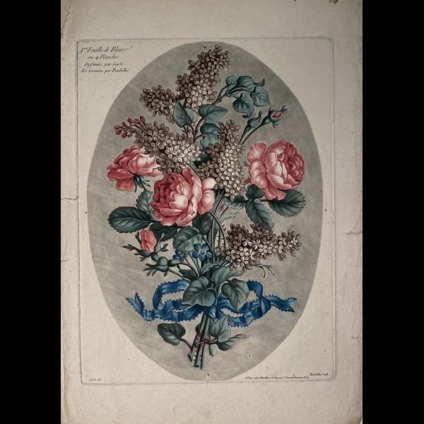 ROUBILLAC ( 1739 - ? ) - 1ERE FEUILLE DE FLEURS EN 4 PLANCHES
