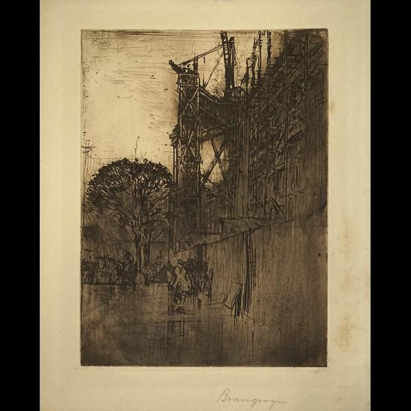 BRANGWYN FRANK ( 1867-1956 ) - CONSTRUCTION DU NOUVEAU MUSEE DE SOUTH KENSINGTON