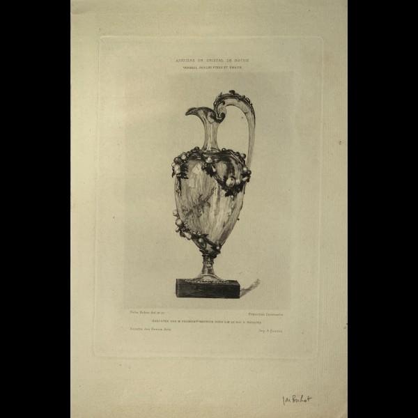 BUHOT FELIX (1847-1898) - AIGUIERE EN CRISTAL DE ROCHE