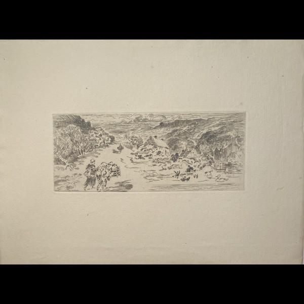 BUHOT FELIX (1847-1898) - L'ENTREE DE LANDEMER ( LA HAGUE )