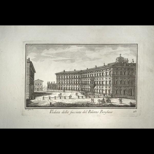 CASSINI  GIOVANNI MARIA (1745-CA.1824) - VEDUTA DELLA FACCIATA DEL PALAZZO BORGHESE