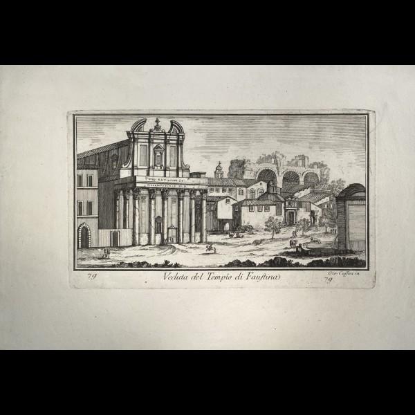CASSINI  GIOVANNI MARIA (1745-CA.1824) - VEDUTA DEL TEMPIO DI FAUSTINA