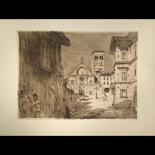 CHAHINE EDGAR ( 1874-1947 ) - IMPRESSIONS D'ITALIE, ASSISE : LA CATHEDRALE SAN RUFINO