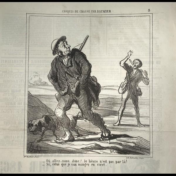 DAUMIER HONORÉ (1808-1879) - CROQUIS DE CHASSE