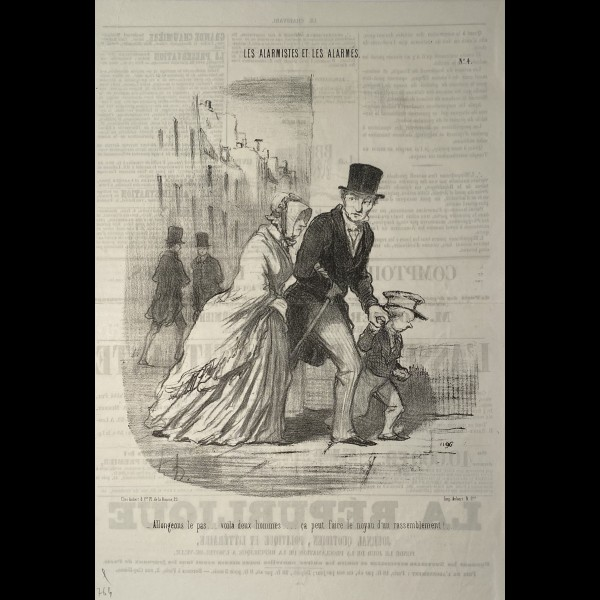 DAUMIER HONORÉ (1808-1879) - LES ALARMISTES ET LES ALARMES