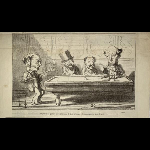 DAUMIER HONORÉ (1808-1879) - LES JOUEURS DE BILLARDS