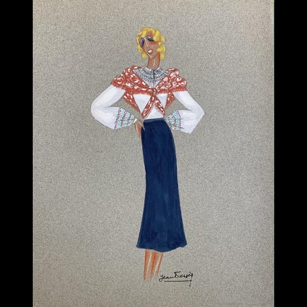 DESSES JEAN (1904-1970)   - PROJET DE ROBE POUR MISTINGUETT BLOUSE ROUMAINE