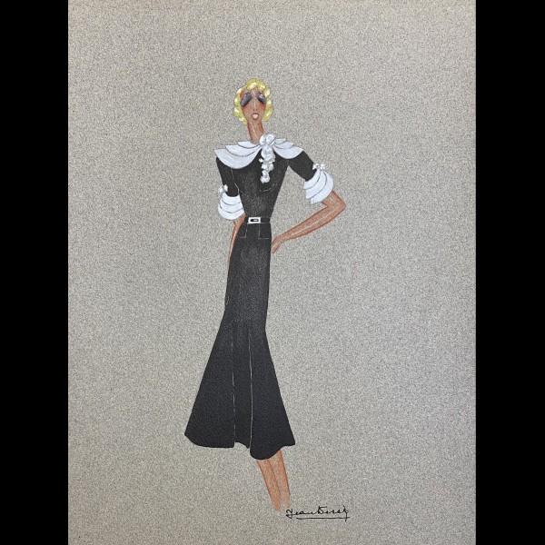 DESSES JEAN (1904-1970)   - PROJET DE ROBE POUR MISTINGUETT  ROBE NOIRE A COL ET REVERS BLANC