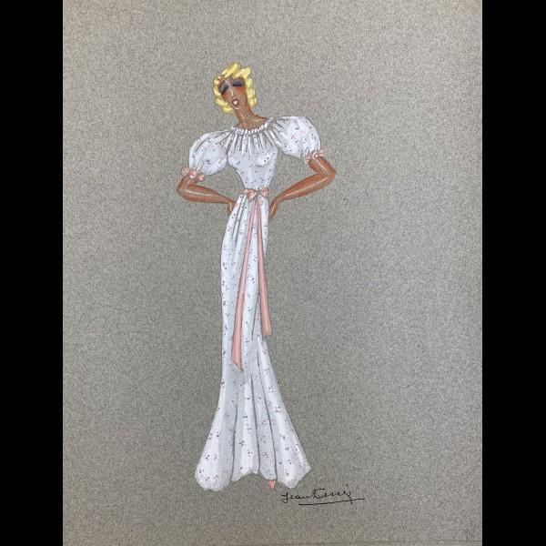 DESSES JEAN (1904-1970)   - PROJET DE ROBE POUR MISTINGUETT ROBE LONGUE BLANCHE ET CEINTURE ROSE
