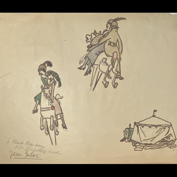 DULAC JEAN ( 1902-1968 ) - SUR LE CHEVAL DE MANEGE