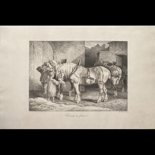 GERICAULT THEODORE (1791–1824) - CHEVAUX DE FERME