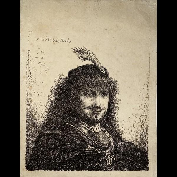 HERTEL JOHANN GEORG ( 1719-1768 ) - PORTRAIT DE REMBRANDT D'APRES LUI-MEME