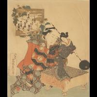 HOKUSAI KATSUSHIKA (1760-1849) - MARIONNETTISTE TENANT UNE POUPEE SUR UN JEU DE GO