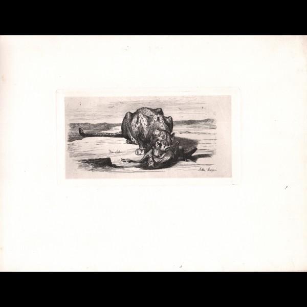 LANÇON AUGUSTE-ANDRE (1836-1887) - LEOPARD ET SA PROIE