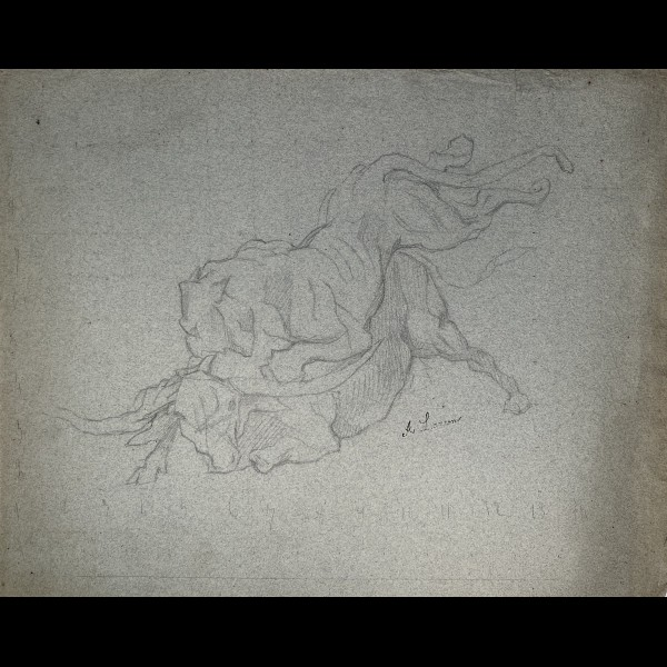 LANÇON AUGUSTE-ANDRE (1836-1887) - LIONNE ATTAQUANT UN BUFFLE