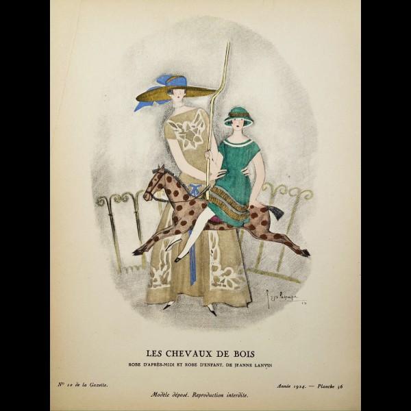 LEPAPE GEORGES (1887-1971) - LES CHEVAUX DE BOIS, ROBE D'APRES-MIDI ET ROBE D'ENFANT, DE JEANNE LANVIN