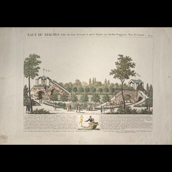 MARTINET AARON ( EDITEUR ACTIF  ENTRE 1796 ET 1824 ) - SAUT DU NIAGARA FOLIE DU JOUR DESSINEE D'APRES NATURE AU JARDIN RUGGIERY RUE ST. LAZARE