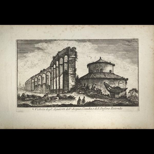 MONTAGU DOMENICO ( ACTIF CA. 1750 ) - VEDUTA DEGL'AQUDOTTI DELL'ACQUA CLAUDIA, E DI S.STEFANO ROTONDO