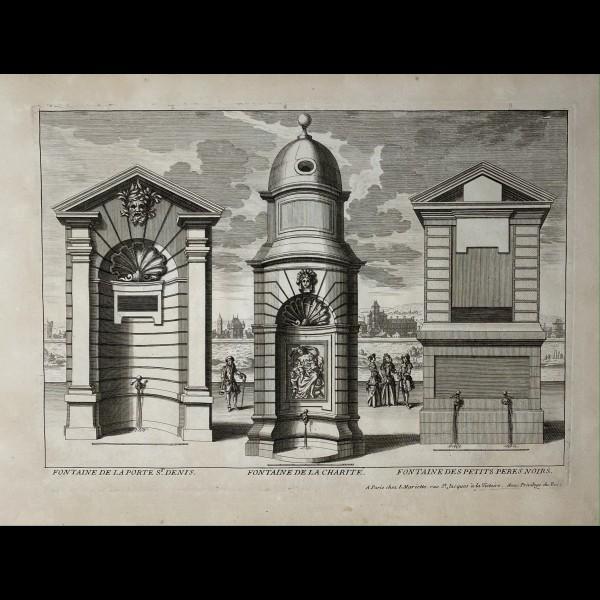 PERELLE GABRIEL (1604-1677 ) - FONTAINE DE LA PORTE ST.DENIS.  FONTAINE DE LA CHARITE.  FONTAINE DES PETITS PERES NOIRS.