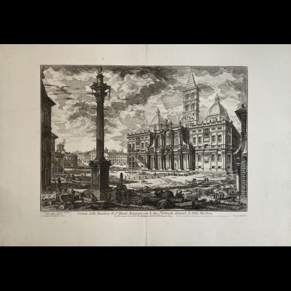PIRANESI GIOVANNI-BATTISTA  (1720-1778) - VEDUTA DELLA BASILICA DI S.MARIA MAGGIORE CON LE DUE FABBRICHE LATERALI DI DETTA BASILICA