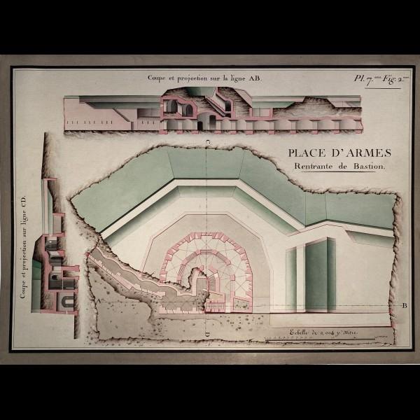 ANONYME XIXè - PLAN D'ARCHITECTURE, PLACE D'ARMES RENTRANTE DE BASTION