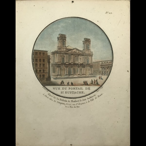 GUYOT LAURENT (1756 - 1808) - VUE DU PORTAIL DE SAINT EUSTACHE