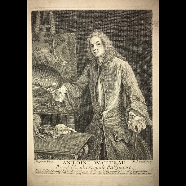 LEPICIE FRANCOIS-BERNARD  (1698-1755) - AUTOPORTRAIT DE WATTEAU A SA PALETTE