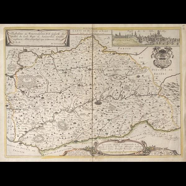 TAVERNIER MELCHIOR (1594-1665) - CARTE DU DIOCESE D'ALBY