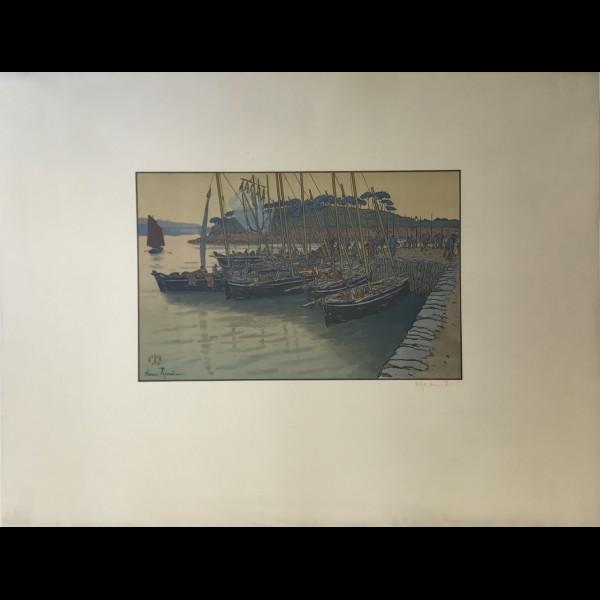 RIVIERE HENRI  (1864-1951) - ARRIVEE DE BATEAUX A TREBOUL