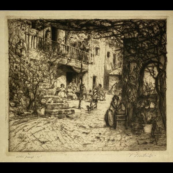 TROWBRIDGE VAUGHAM (1869-1941) - SEVILLE, UNE COUR
