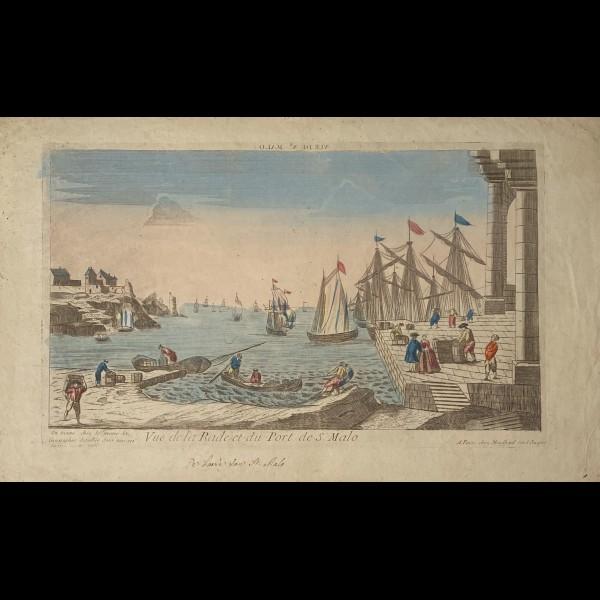 MONDHARE LOUIS-JOSEPH (1734 - 1799) - VUE D'OPTIQUE DE LA RADE ET DU PORT DE SAINT MALO