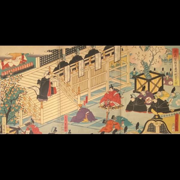 YOSHIMORI UTAGAWA ( 1830-1884 ) -  LA CONQUETE D'OSHU PAR LE SEIGNEUR MINAMOTO YOSHIIE ( MINAMOTO YOSHIIE ASON ÔSHU SEIBATSU NO ZU )